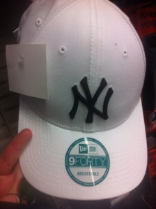 Not like the green one I spotted, but still, a white Yankees hat?